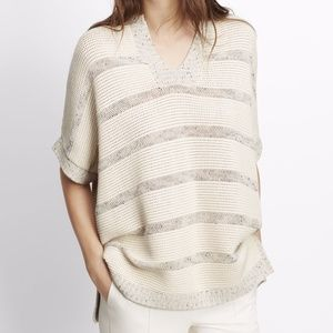 Vince Speckle Stitch Striped Popover Sweater Sz S